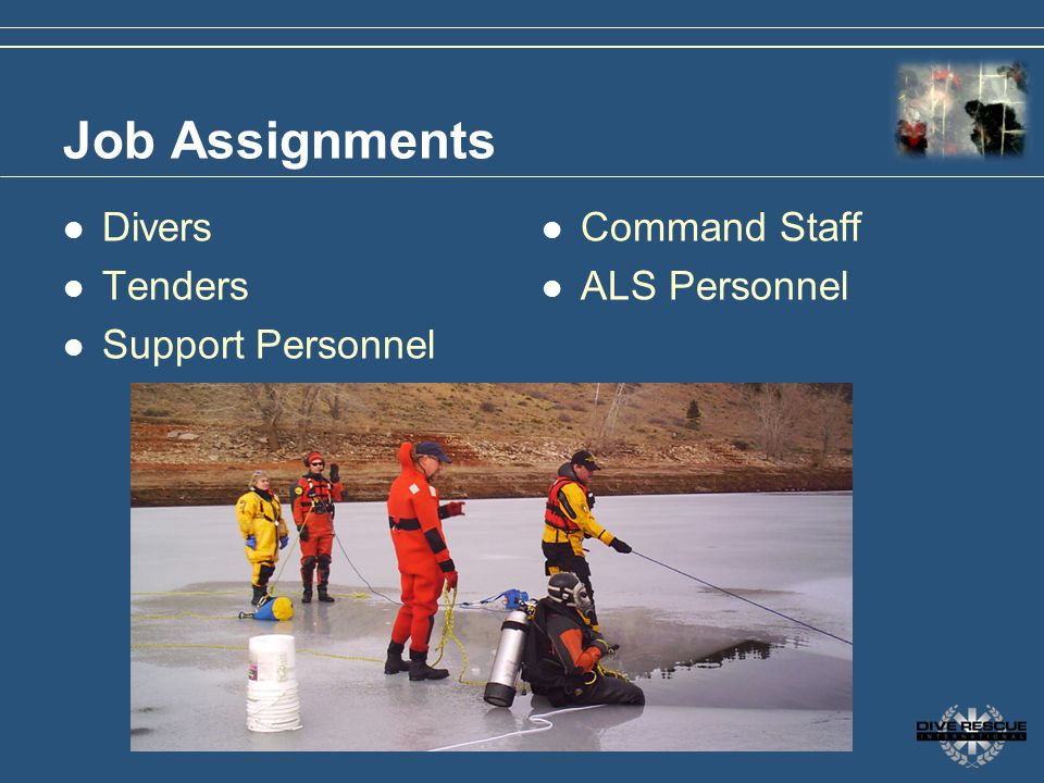 Job Assignments Divers Tenders Support Personnel Command Staff