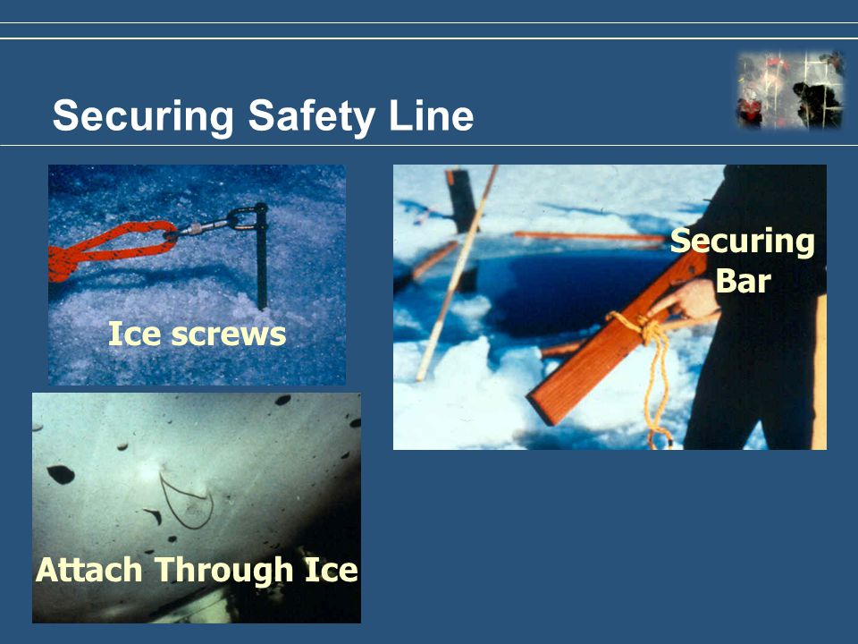 Securing Safety Line Securing Bar Ice screws Attach Through Ice