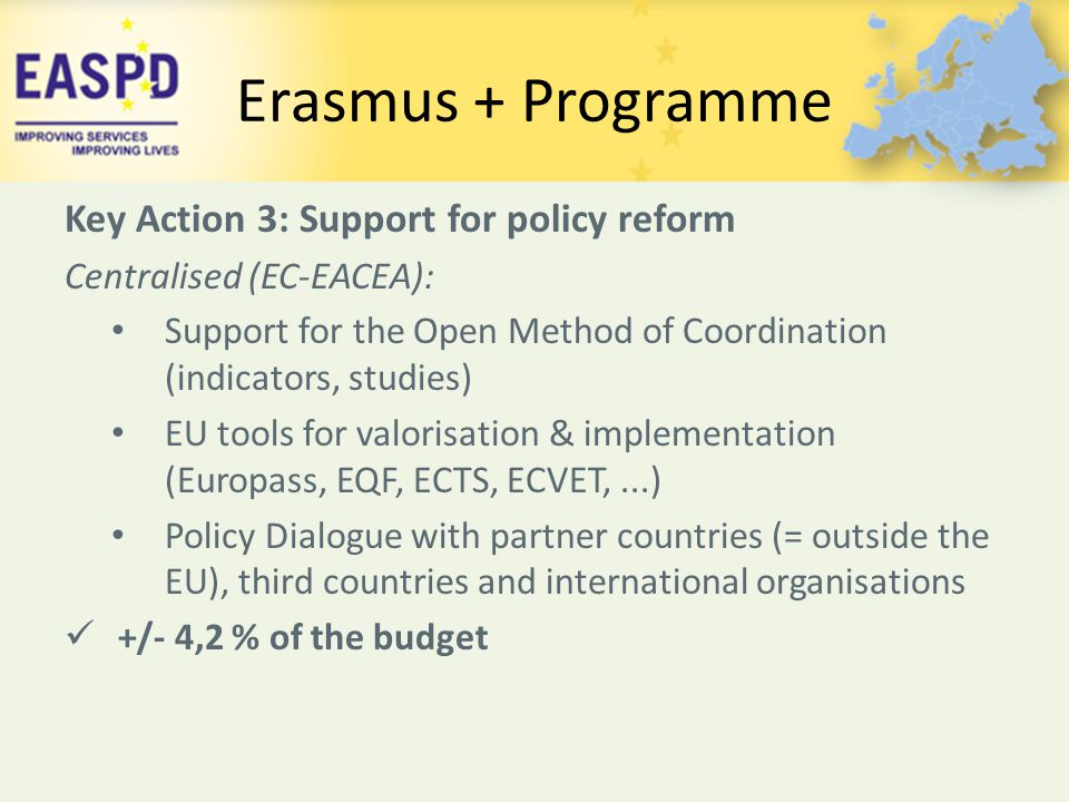 Erasmus + Programme Key Action 3: Support for policy reform