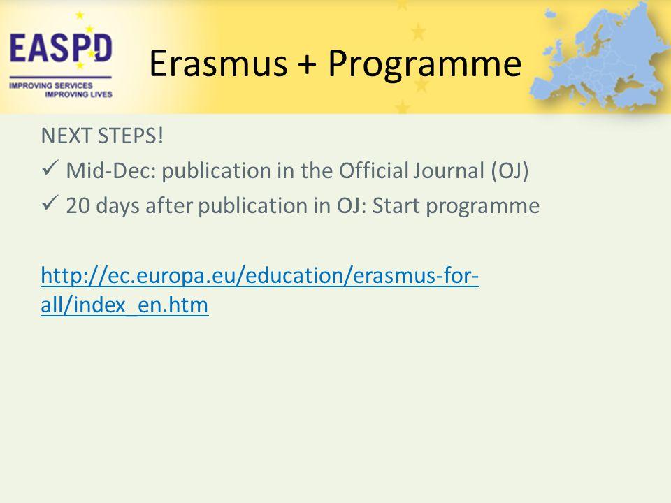 Erasmus + Programme NEXT STEPS!
