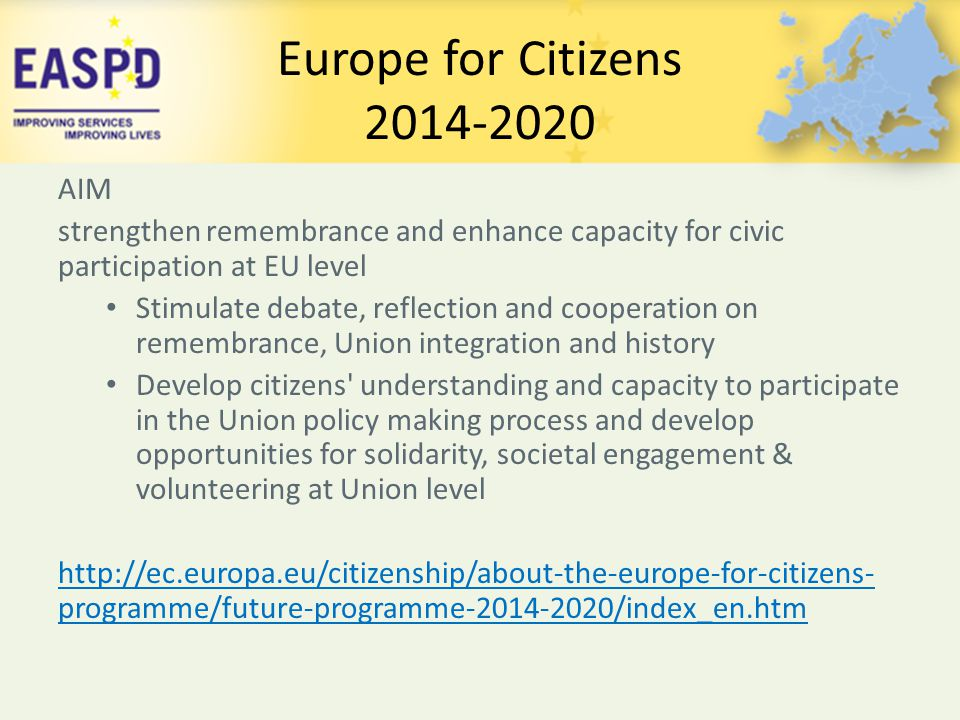 Europe for Citizens 2014-2020 AIM