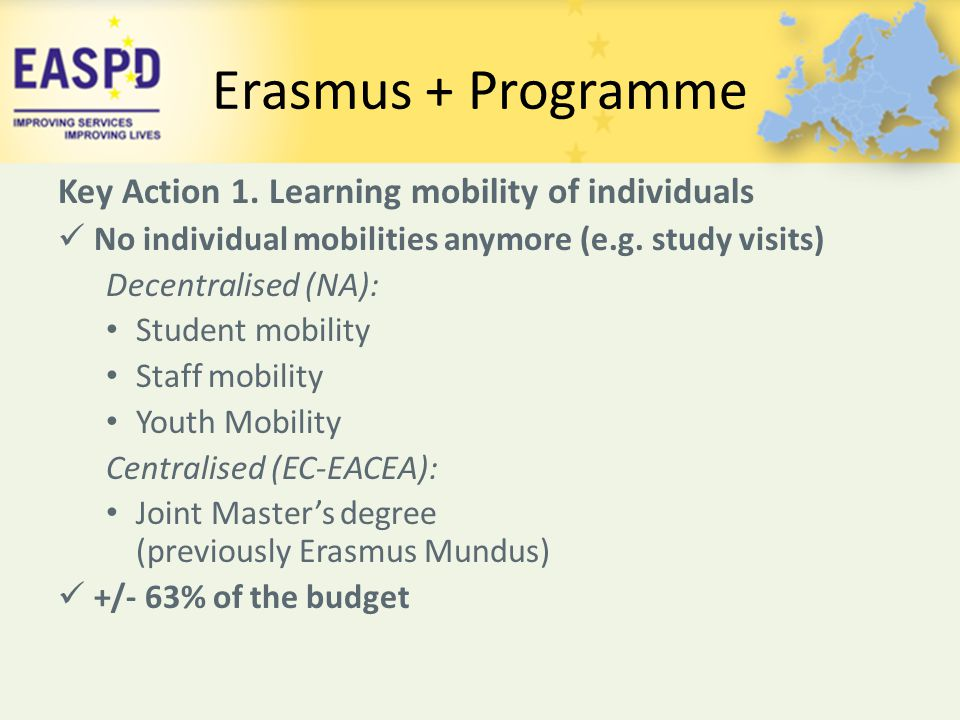Erasmus + Programme Key Action 1. Learning mobility of individuals