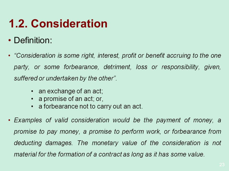 1.2. Consideration Definition: