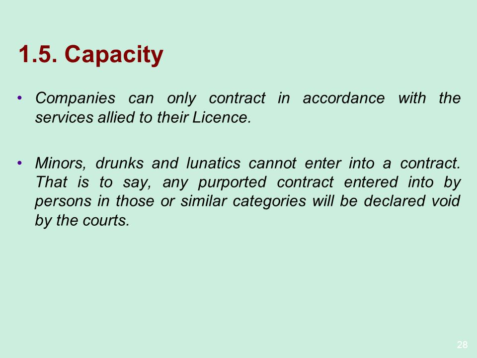 1.5. Capacity Companies can only contract in accordance with the services allied to their Licence.