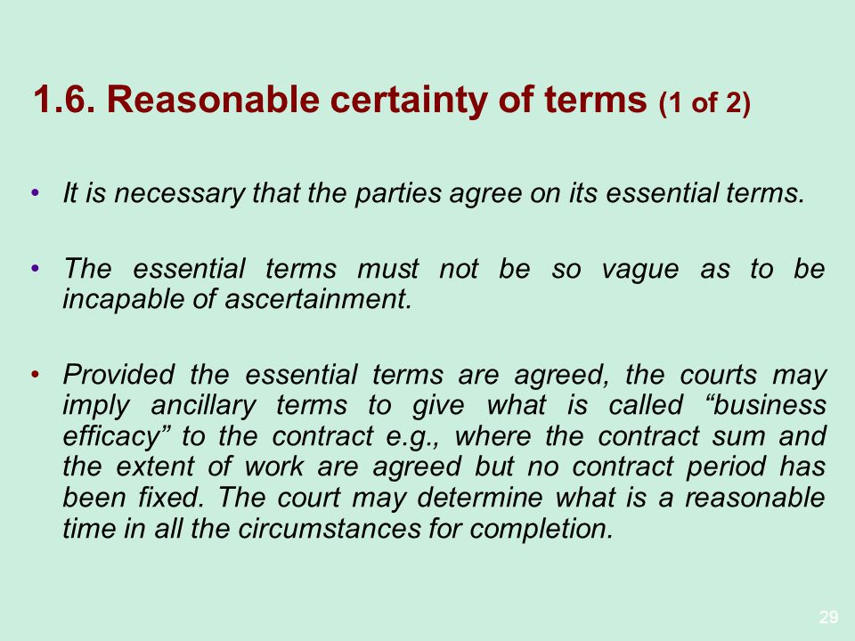 1.6. Reasonable certainty of terms (1 of 2)