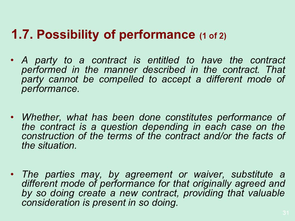 1.7. Possibility of performance (1 of 2)