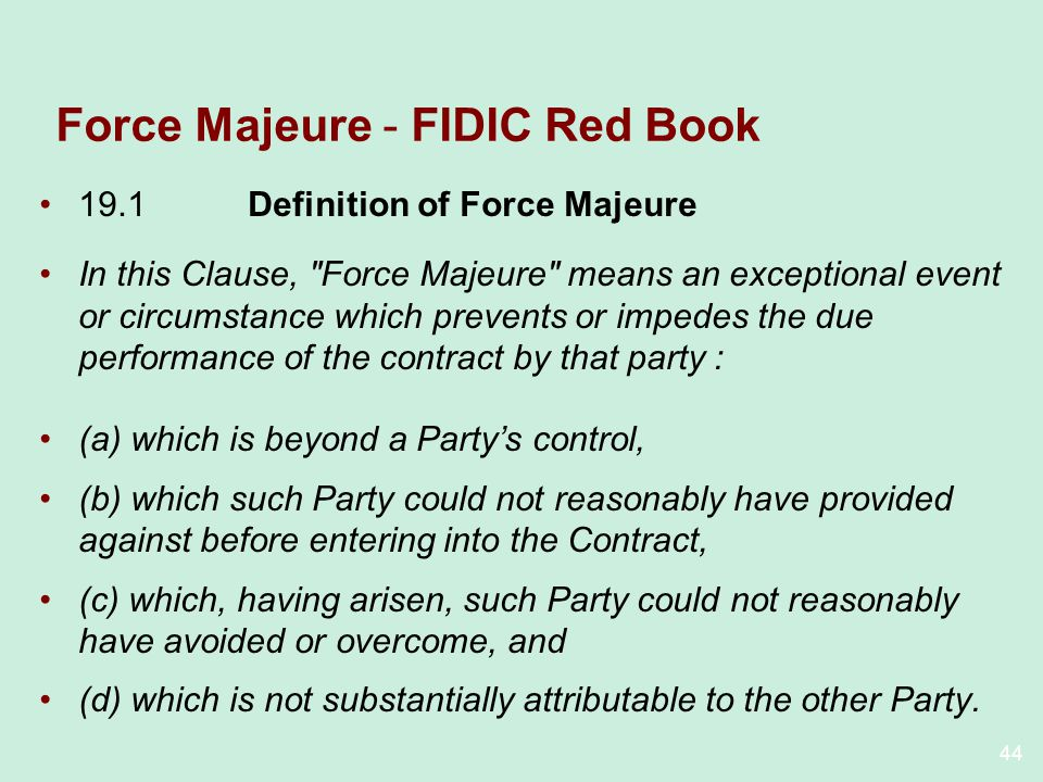 Force Majeure - FIDIC Red Book
