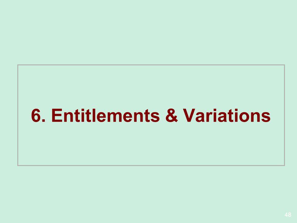 6. Entitlements & Variations