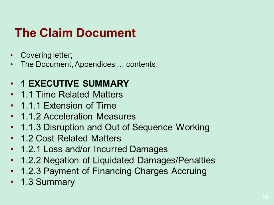 The Claim Document 1 EXECUTIVE SUMMARY 1.1 Time Related Matters