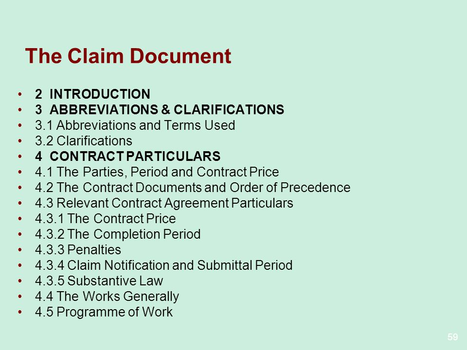 The Claim Document 2 INTRODUCTION 3 ABBREVIATIONS & CLARIFICATIONS