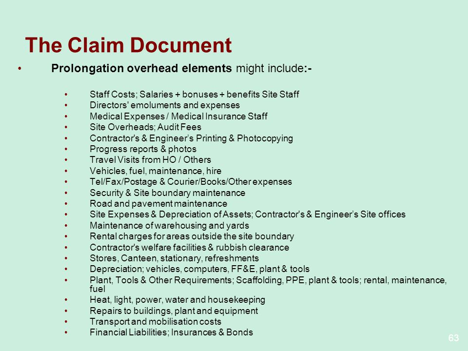 The Claim Document Prolongation overhead elements might include:-