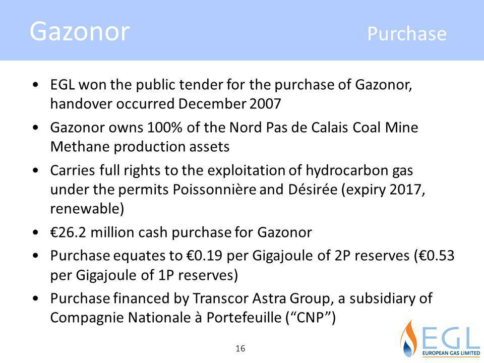 Gazonor Purchase EGL won the public tender for the purchase of Gazonor, handover occurred December