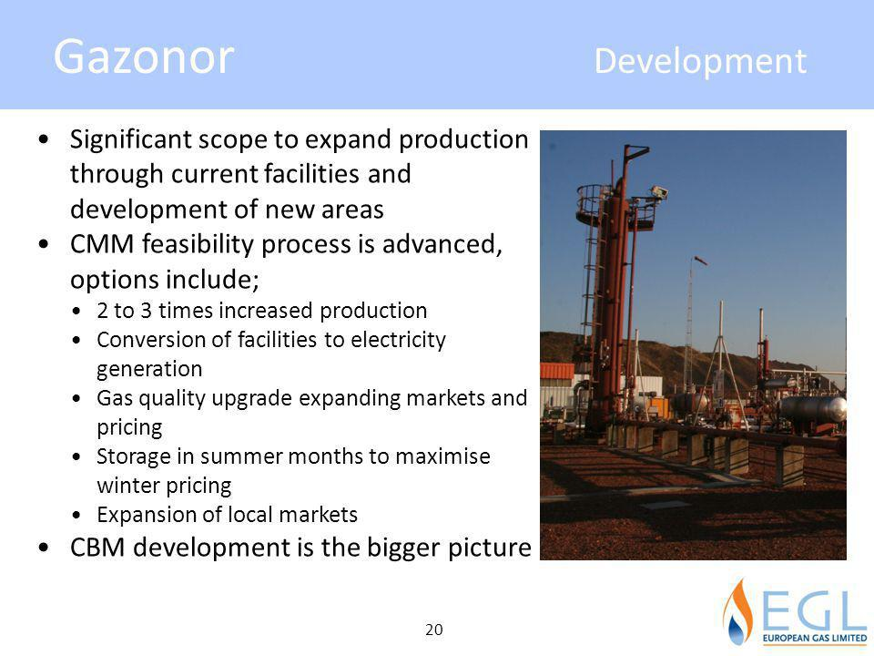Gazonor Development Significant scope to expand production through current facilities and development of new areas.