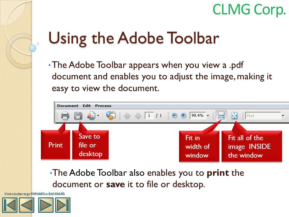 Using the Adobe Toolbar