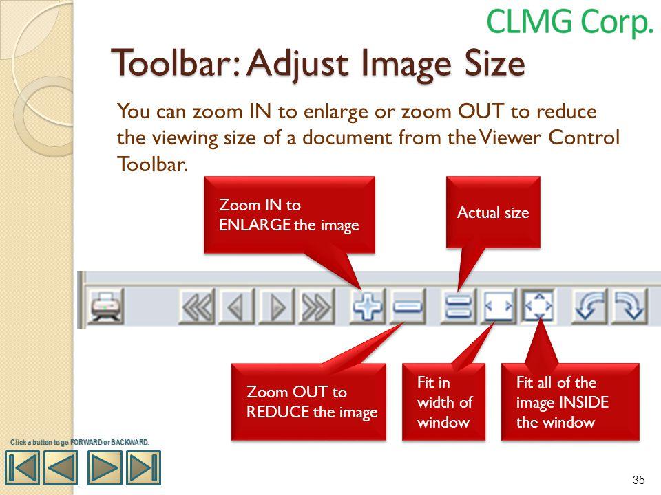 Toolbar: Adjust Image Size