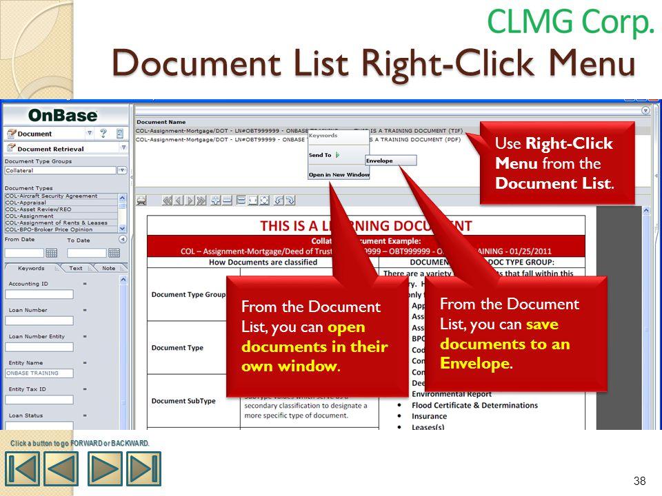 Document List Right-Click Menu
