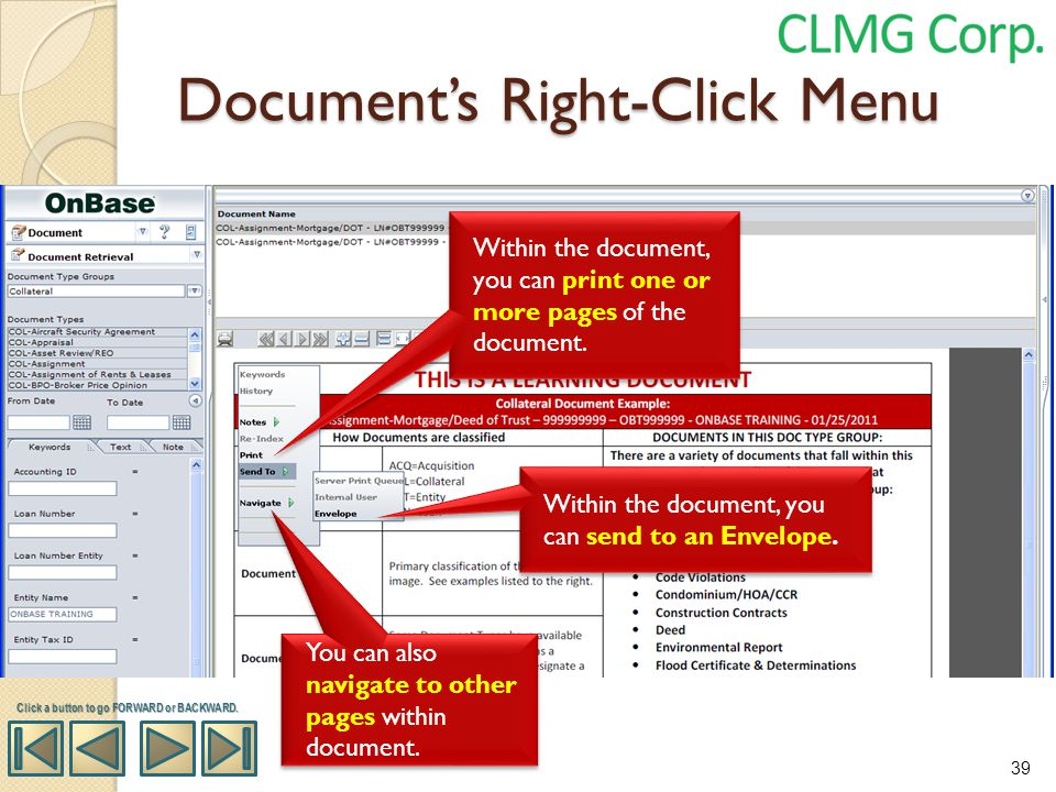 Document's Right-Click Menu