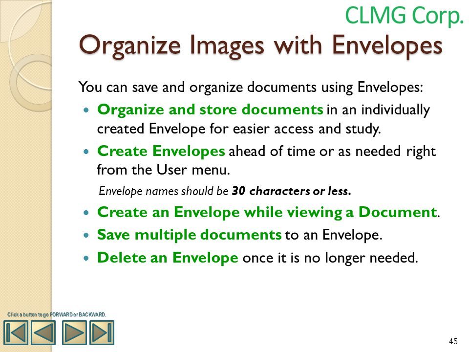 Organize Images with Envelopes