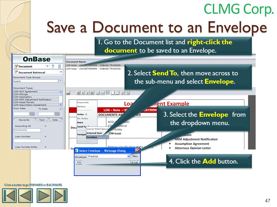 Save a Document to an Envelope