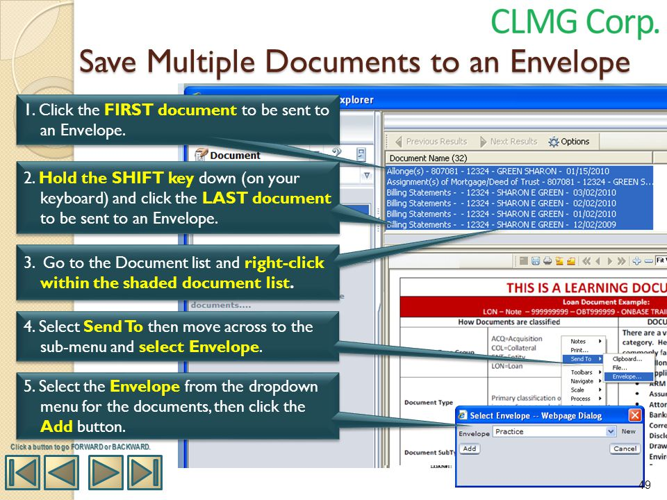Save Multiple Documents to an Envelope
