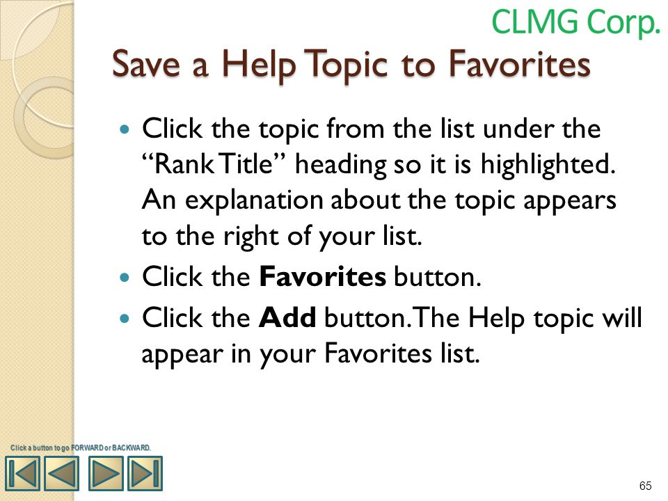 Save a Help Topic to Favorites