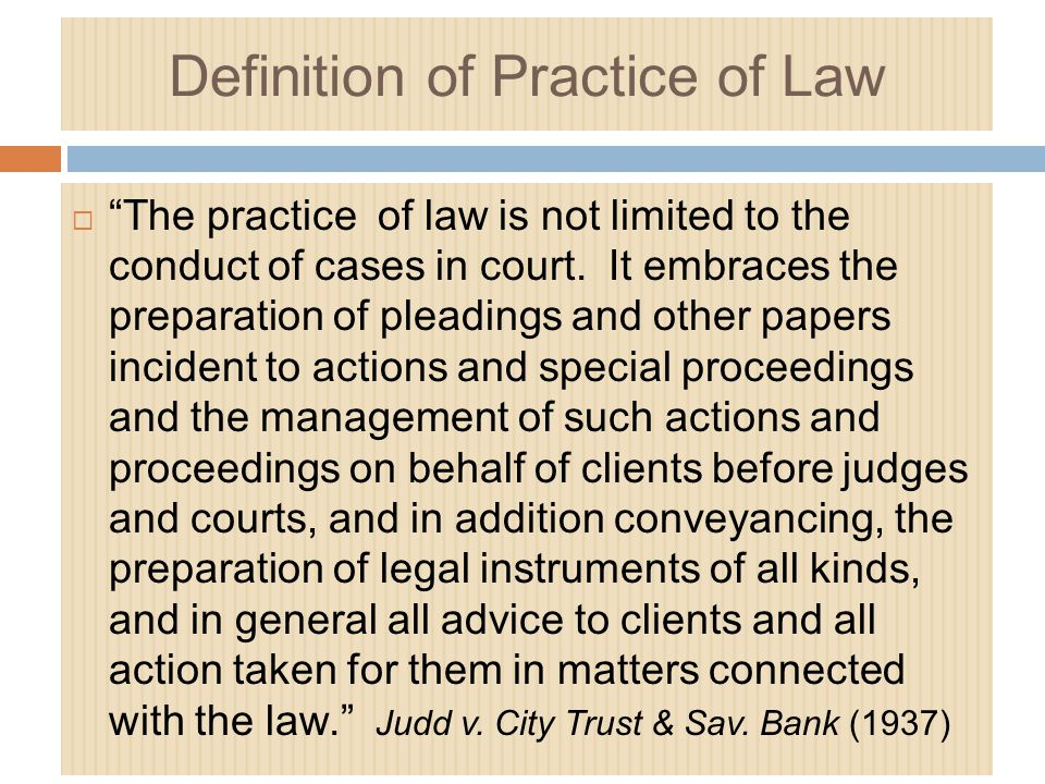 Definition of Practice of Law
