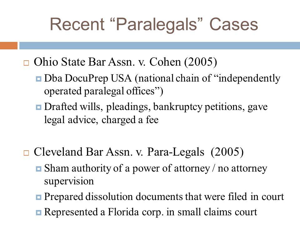 Recent Paralegals Cases
