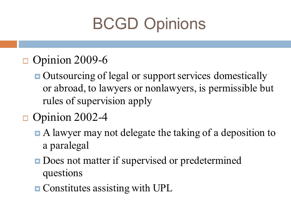 BCGD Opinions Opinion 2009-6 Opinion 2002-4
