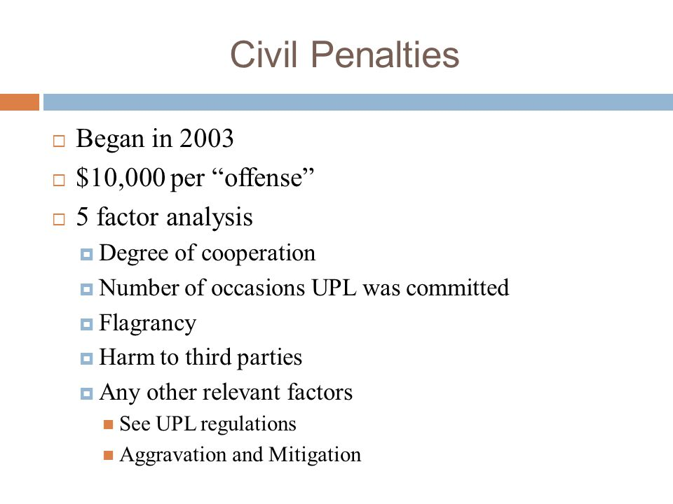 Civil Penalties Began in 2003 $10,000 per offense 5 factor analysis