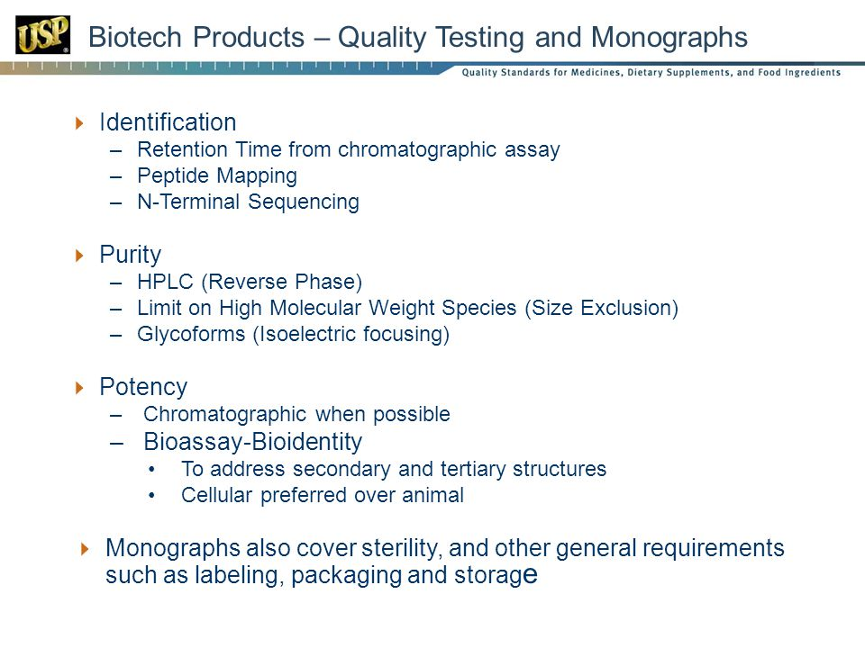 Biotech Products – Quality Testing and Monographs
