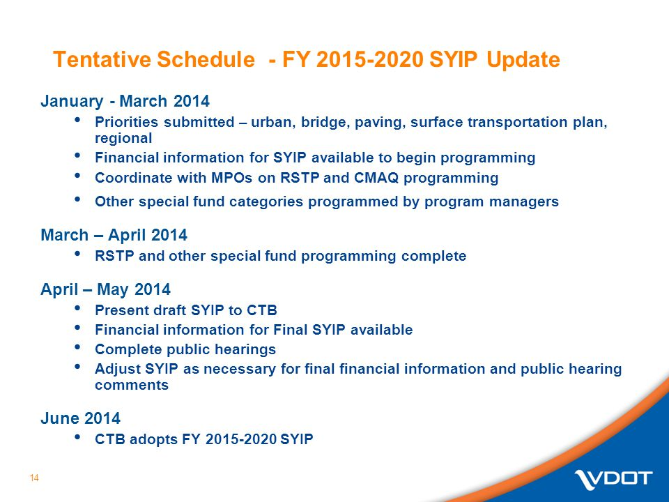 Tentative Schedule - FY 2015-2020 SYIP Update