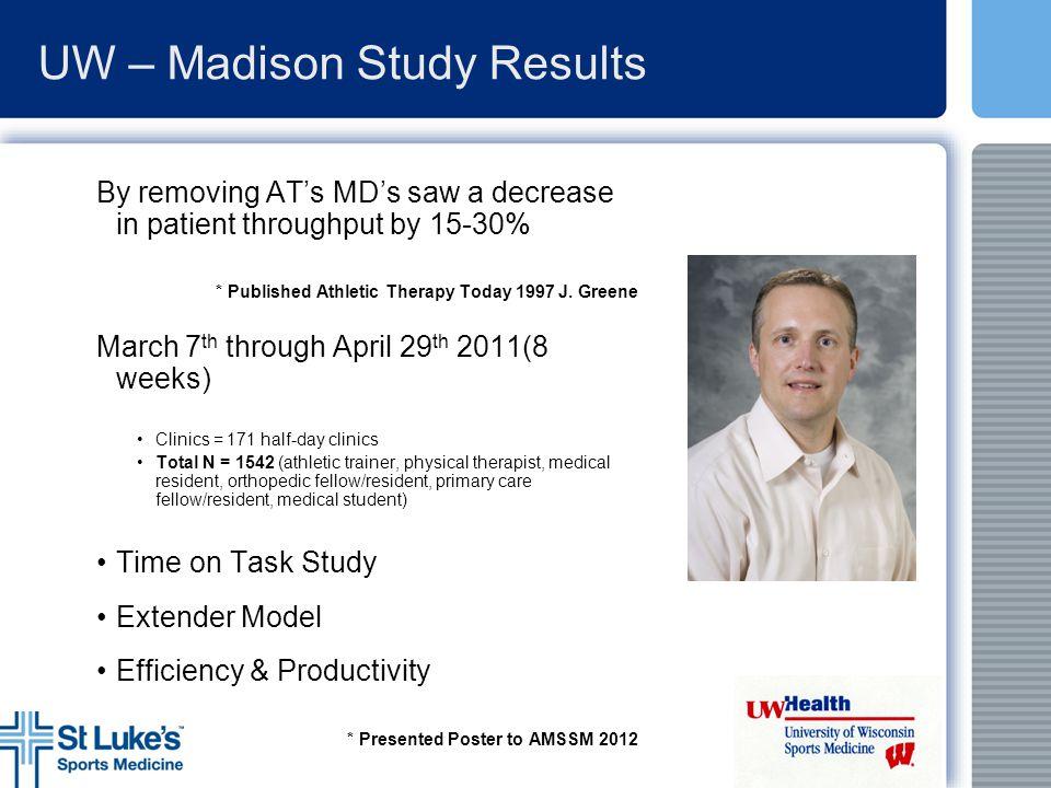 UW – Madison Study Results