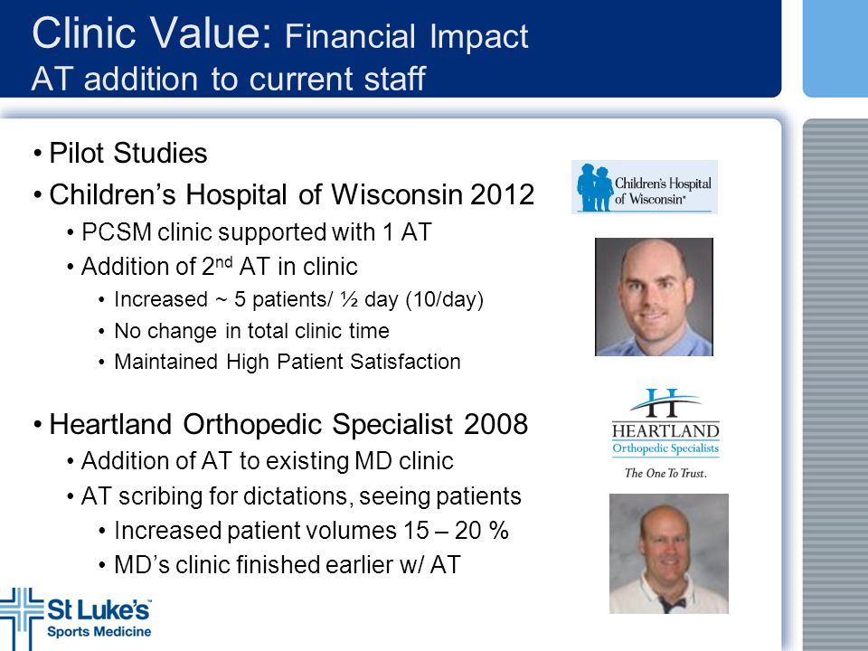 Clinic Value: Financial Impact AT addition to current staff