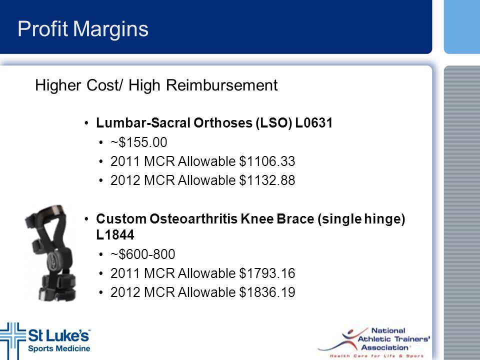 Profit Margins Higher Cost/ High Reimbursement