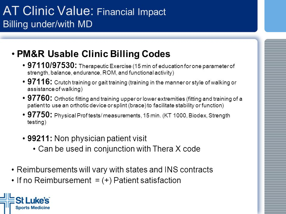 AT Clinic Value: Financial Impact Billing under/with MD