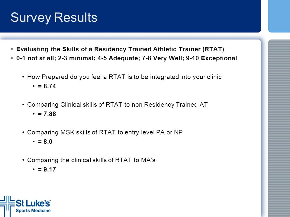 Survey Results Evaluating the Skills of a Residency Trained Athletic Trainer (RTAT)