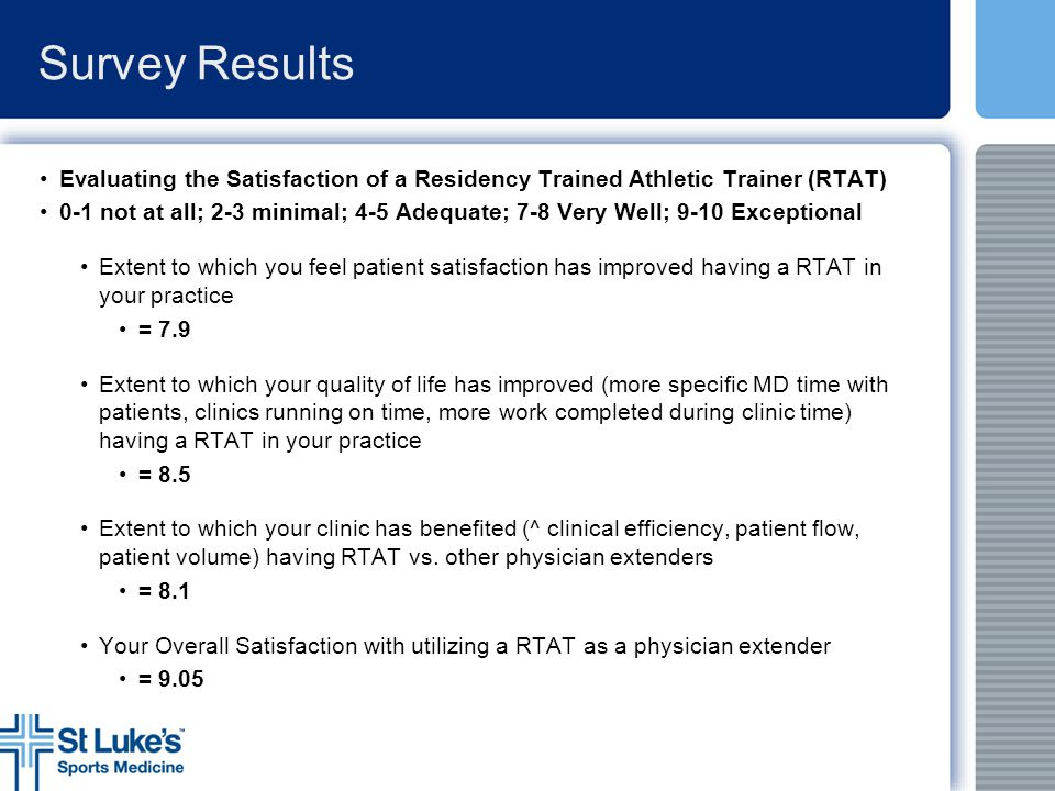 Survey Results Evaluating the Satisfaction of a Residency Trained Athletic Trainer (RTAT)
