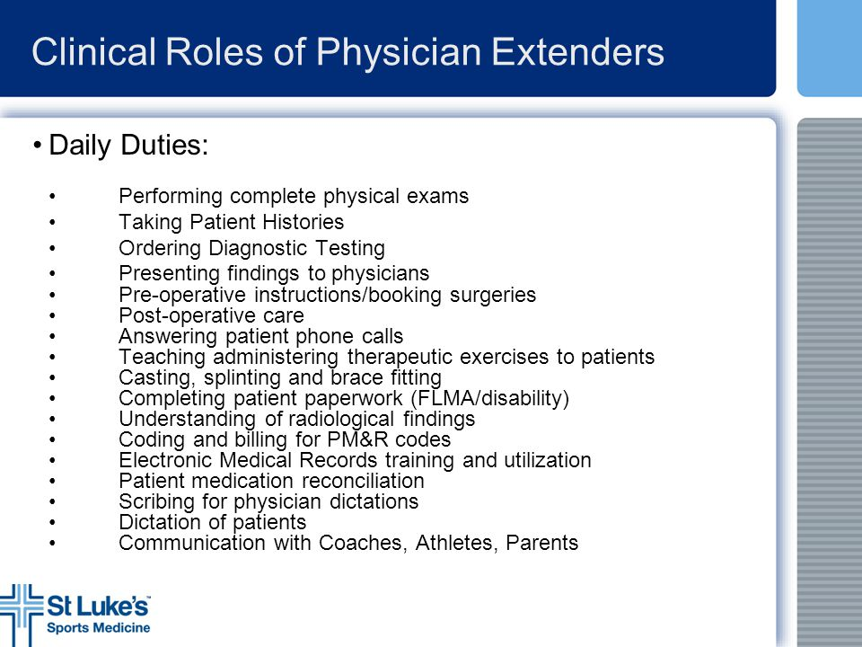 Clinical Roles of Physician Extenders