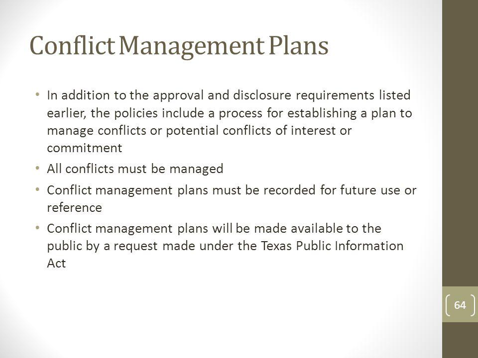 Conflict Management Plans