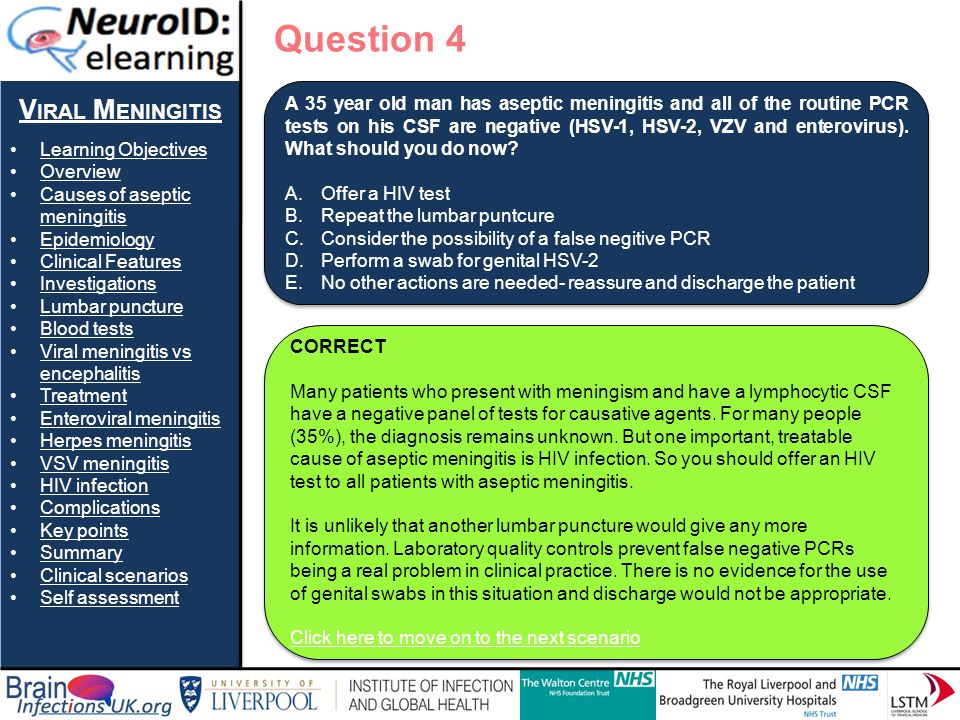 Question 4 Viral Meningitis Learning Objectives Overview