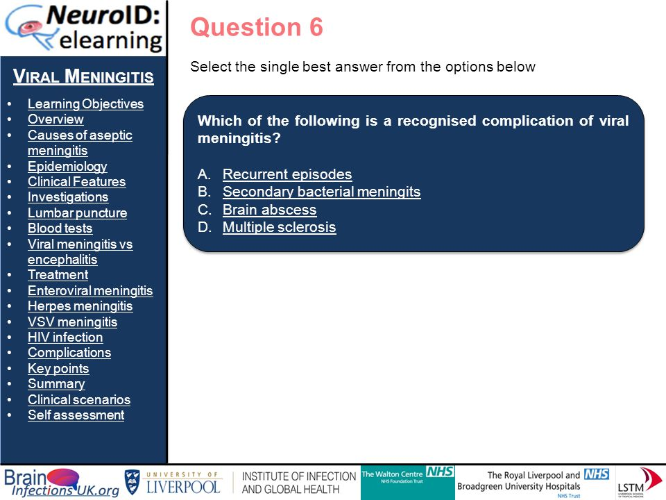 Question 6 Viral Meningitis