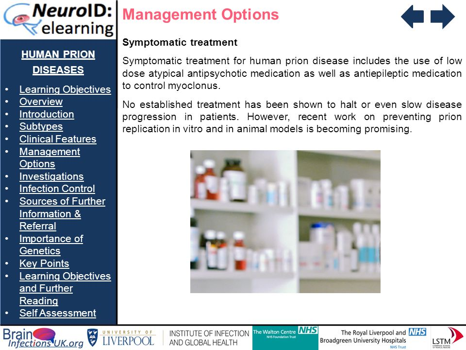 Management Options human prion diseases Symptomatic treatment