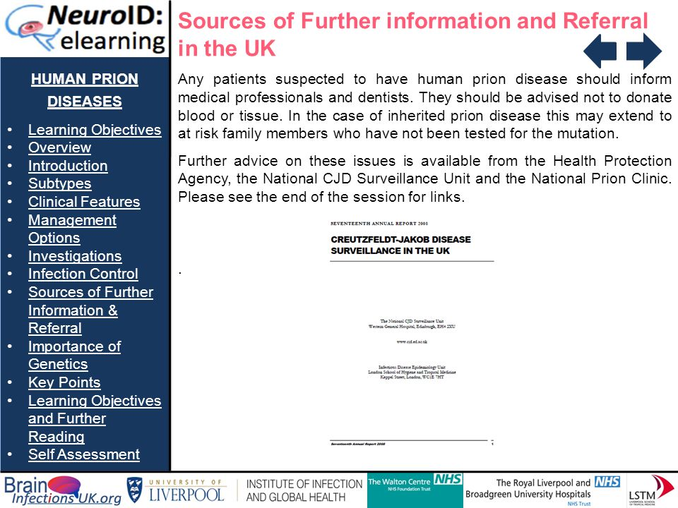 Sources of Further information and Referral in the UK