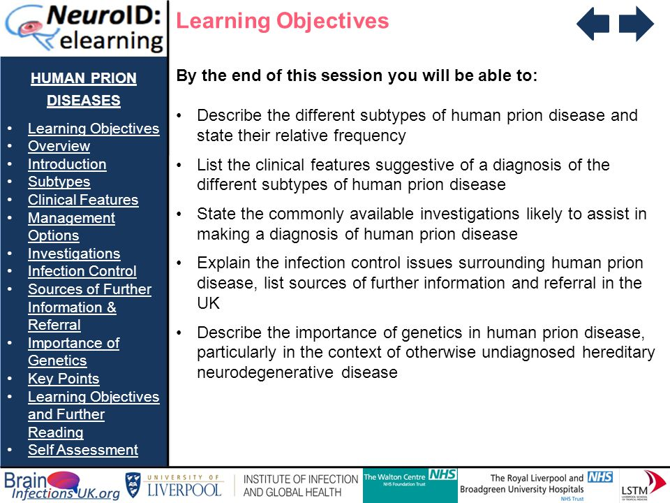 Learning Objectives human prion diseases Human Prion Diseases