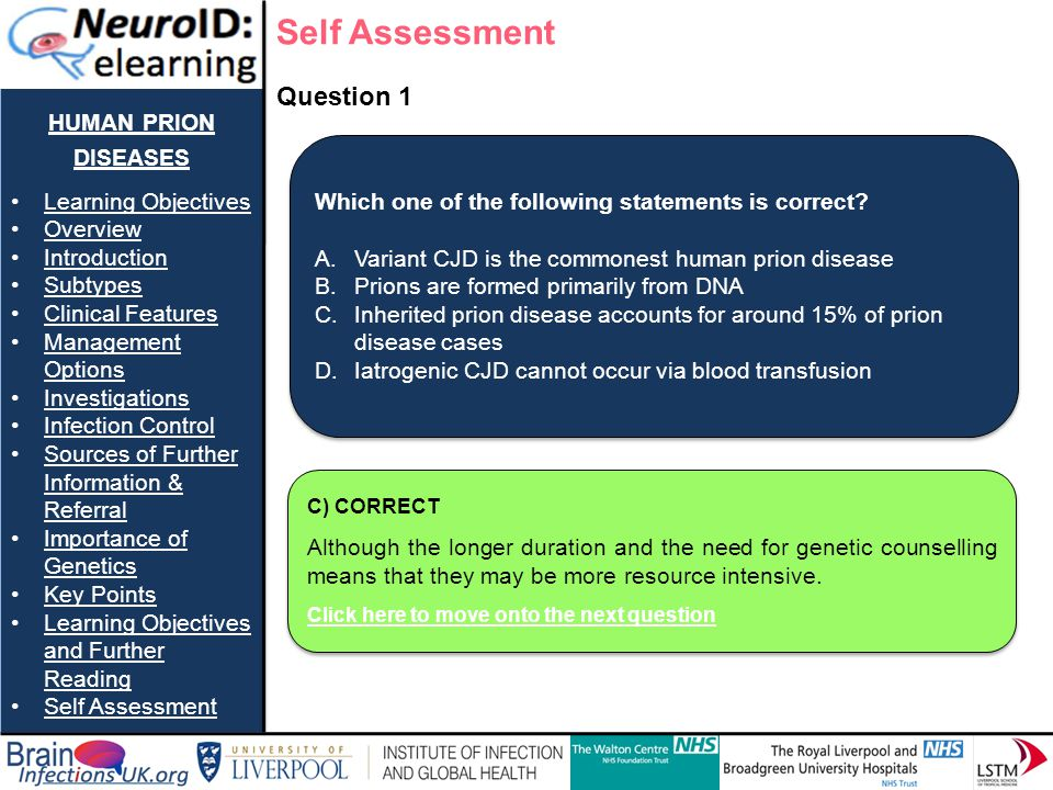 Self Assessment human prion diseases Question 1 Learning Objectives
