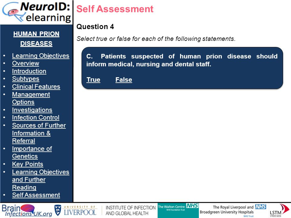 Self Assessment human prion diseases Question 4