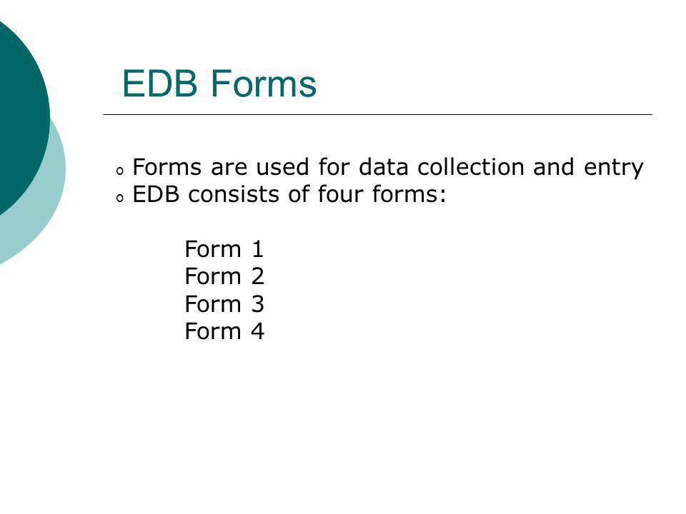 EDB Forms Forms are used for data collection and entry