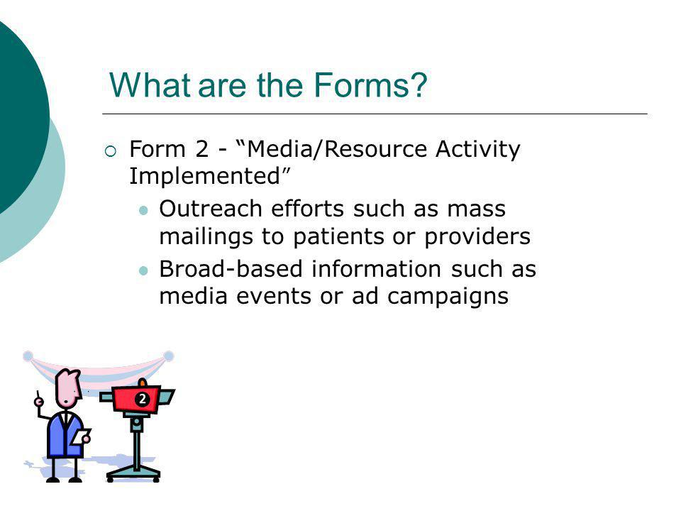 What are the Forms Form 2 - Media/Resource Activity Implemented