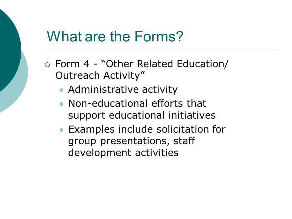 What are the Forms Form 4 - Other Related Education/ Outreach Activity Administrative activity.