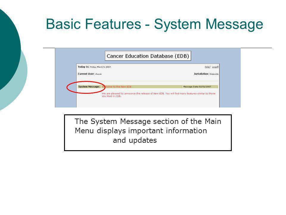 Basic Features - System Message